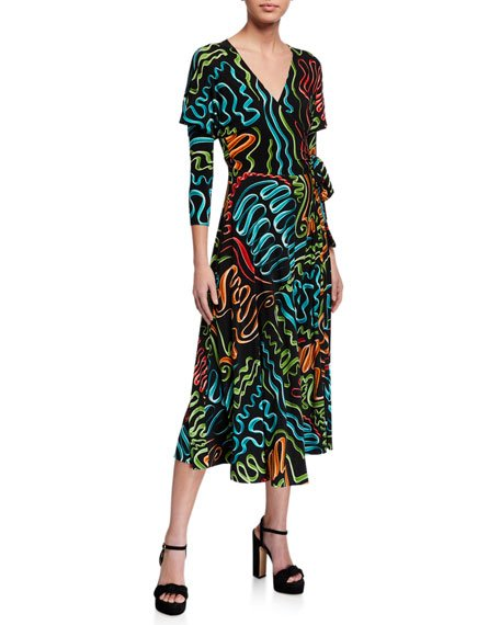 Printed Dolman Wrap Flared Midi Dress