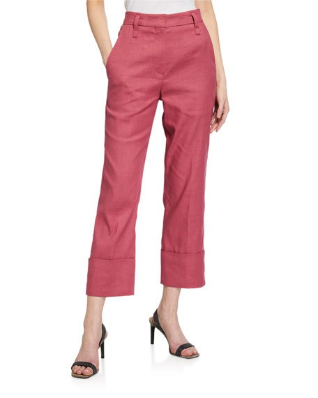 Linen-Cotton Straight-Leg Pants