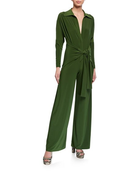 Long-Sleeve Tie-Front Wide-Leg Shirt Jumpsuit