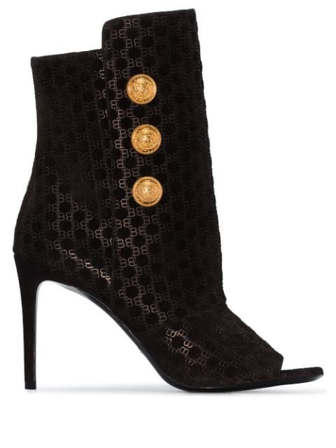 Balmain Oslo button-detailed Flocked Leather Ankle Boots - Farfetch
