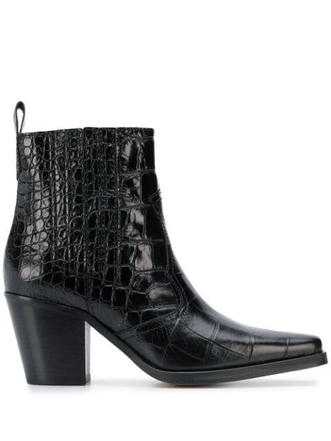 GANNI Croc Effect Ankle Boots - Farfetch