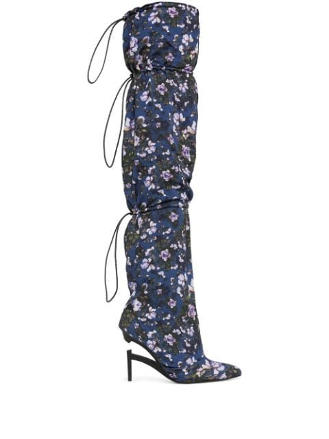 Unravel Project Double Layer 100mm Floral Boots - Farfetch