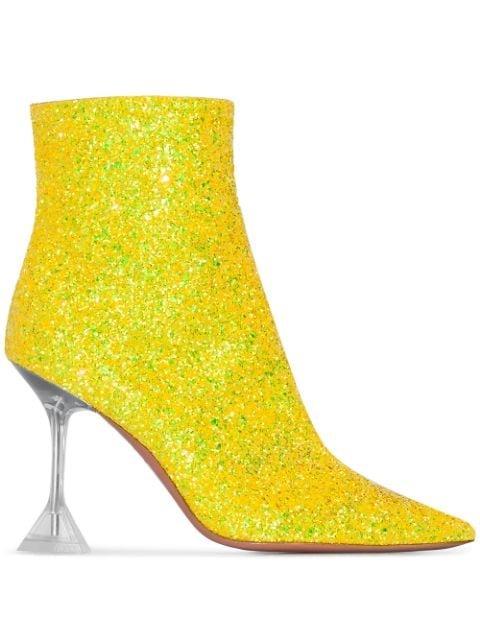 Amina Muaddi Georgia 95mm Glitter Boots - Farfetch