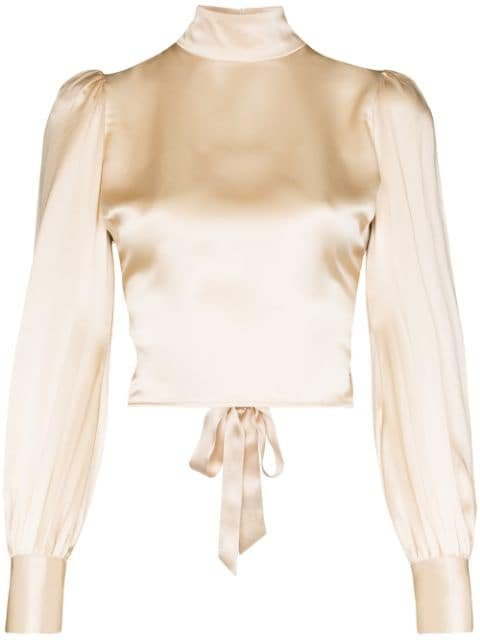 Reformation Cielo Gathered silk-satin Blouse - Farfetch