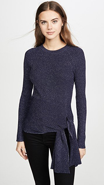 Metallic Ribbed Pullover with Waist Tie