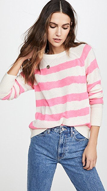 Printed Stripe Essential Cashmere Sweatshirt