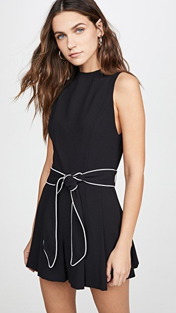Harlan Mockneck Pleated Romper with Belt