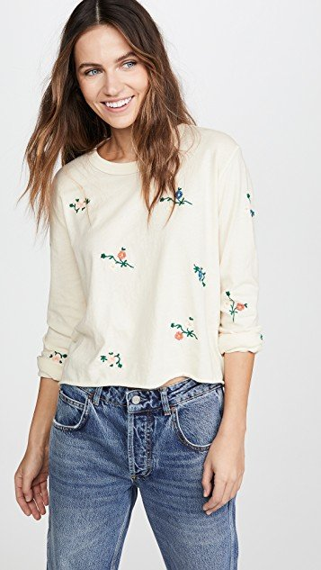 The Crop Tee with Floral Embroidery