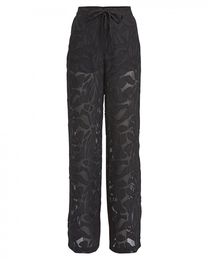 Sheer Panel Drawstring Pants