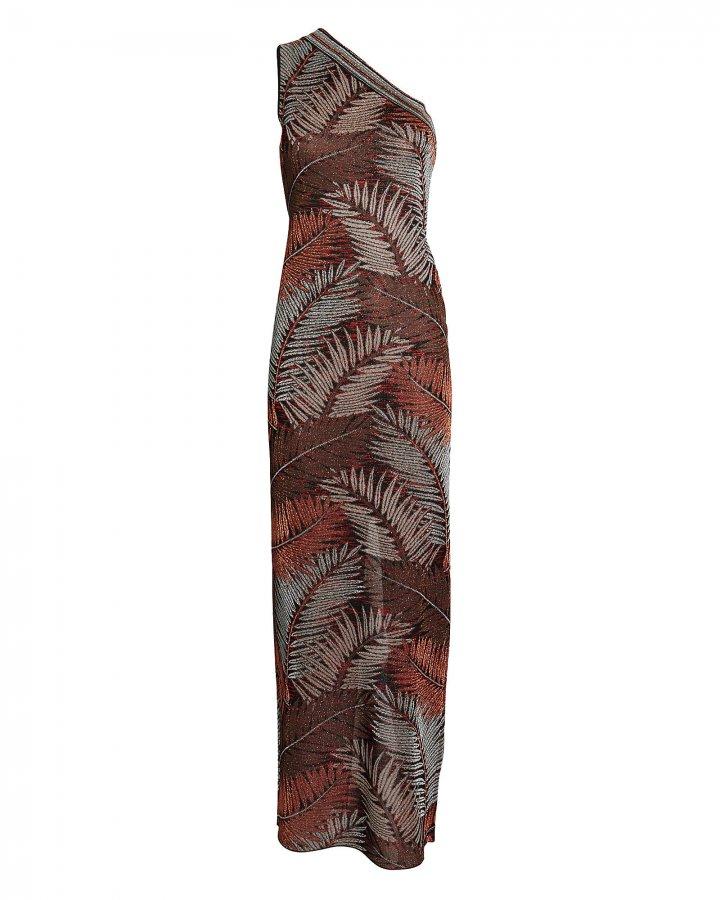 Palm Knit Jacquard One-Shoulder Dress