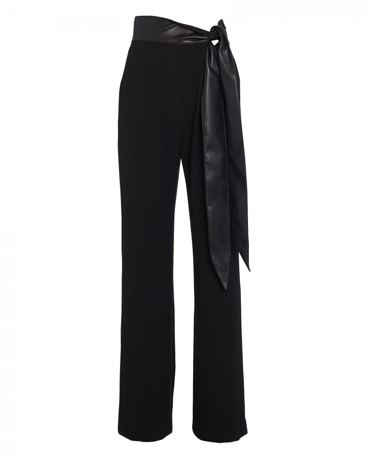 Cecelia Vegan Leather-Trimmed Crepe Pants