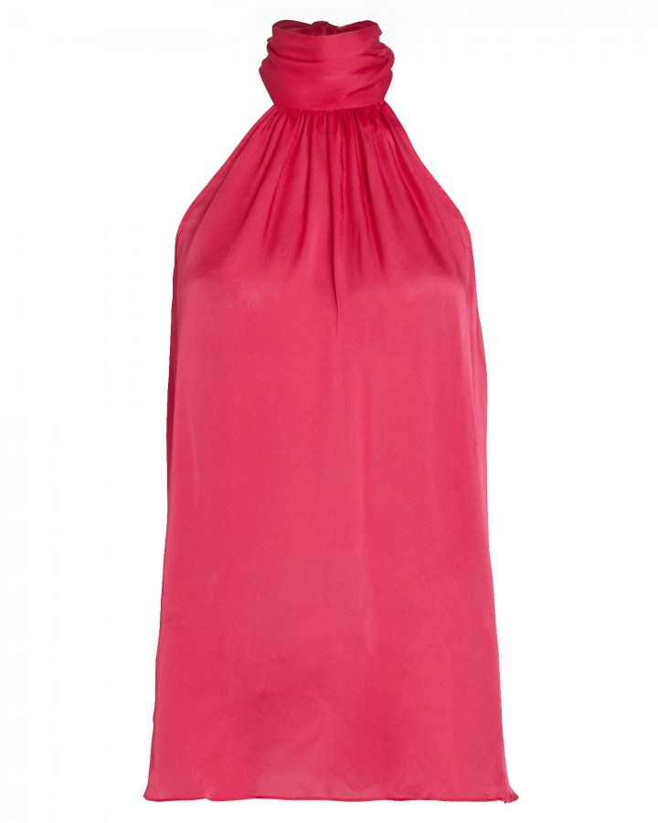 Gathered Sleeveless Silk Chiffon Top