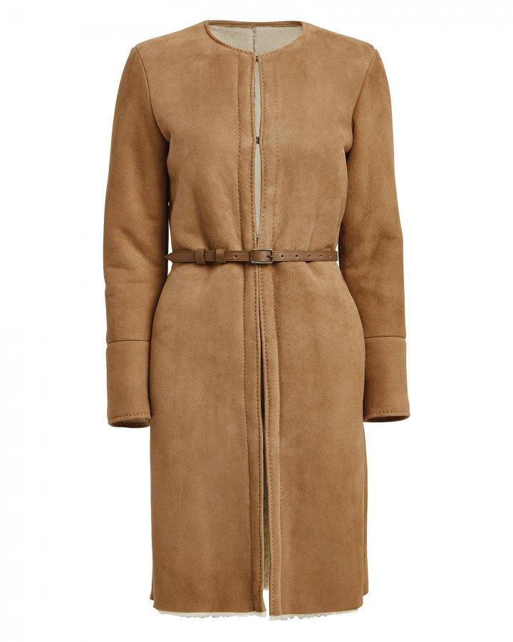 Sara Belted Shearling Coat