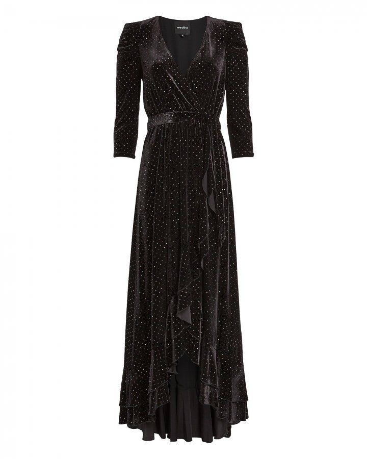 Flora Rhinestone Velvet Wrap Dress