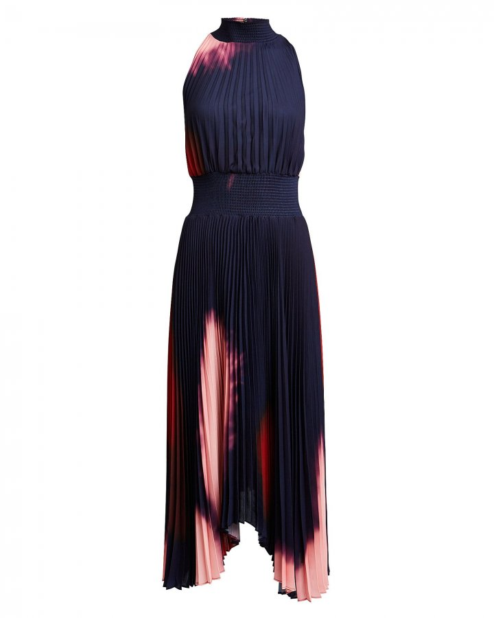 Renzo Tie-Dye Pleated Midi Dress