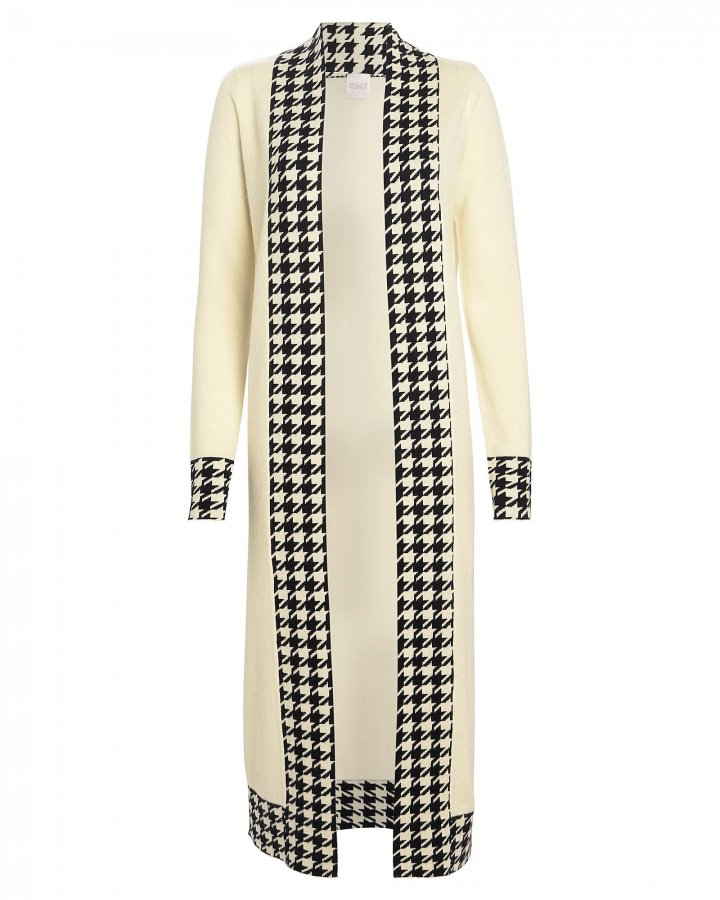 Anita Houndstooth-Trimmed Cashmere Duster