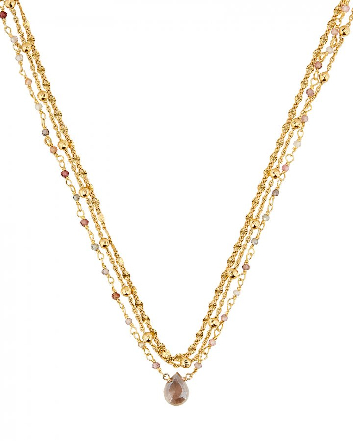 Lina Ball Chain Gemstone Necklace