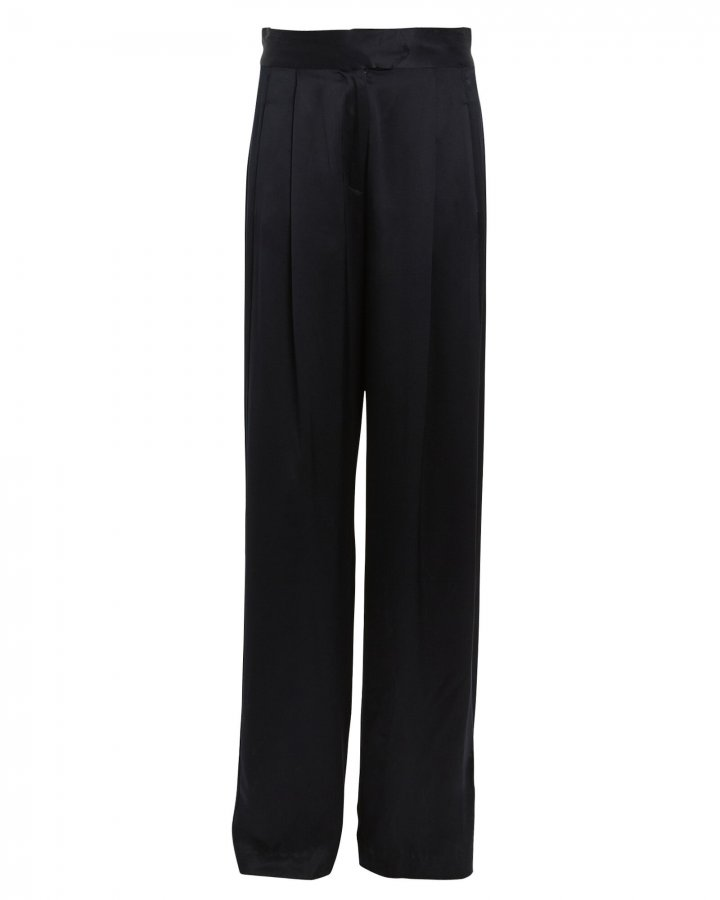 Pleated Silk Charmeuse Trousers