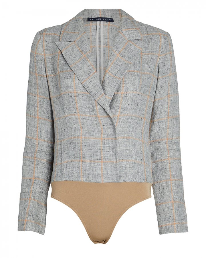 Checked Linen Blazer Bodysuit