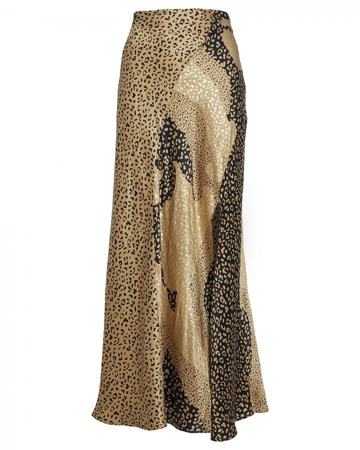 Parker Metallic Leopard Slip Skirt