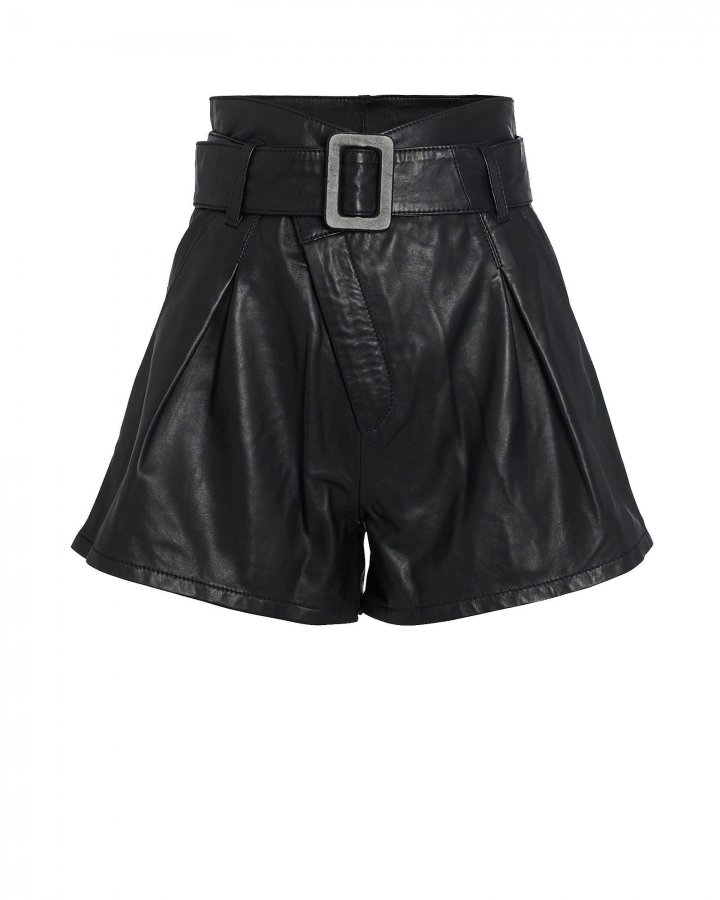 Levi Belted Leather Shorts