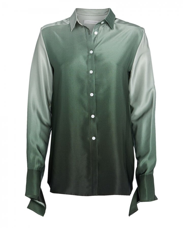 Ombré Silk Button Down Shirt