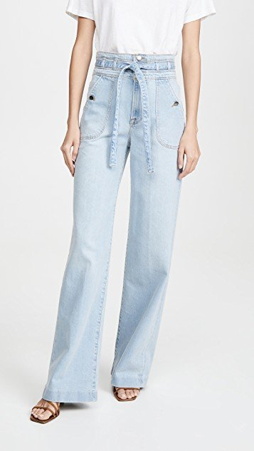 Ali Wide Leg Triple Waist Tie Jeans