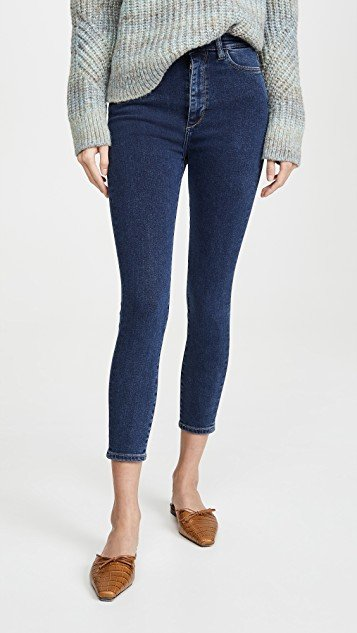 Chrissy Cropped Ultra High Rise Skinny Jeans