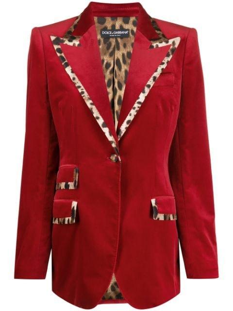 Dolce & Gabbana Leopard Print Trimmed Blazer - Farfetch