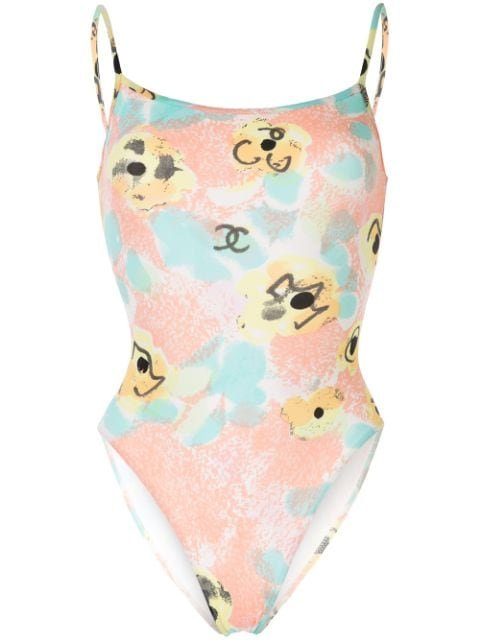 Chanel Pre-Owned Flower CC Sleeveless Swimsuit - Farfetch
