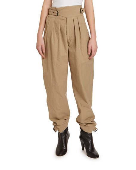 Yurnea Wrap-Waist Pleated Stovepipe Pants