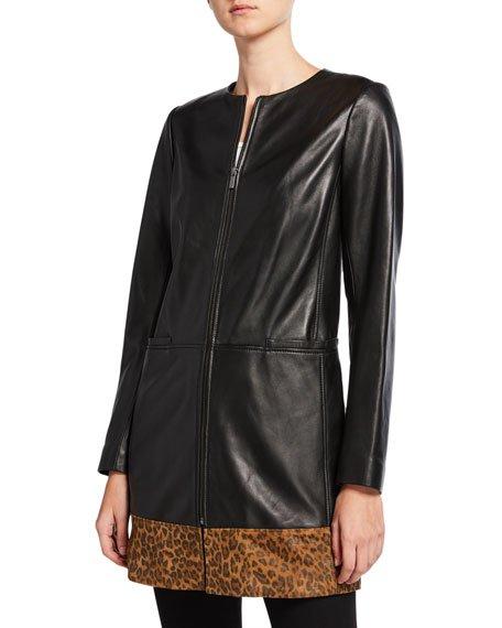 Leopard-Print Block Topper Jacket