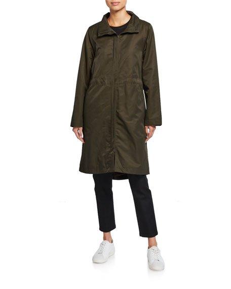 Petite Lor Stand-Collar Zip-Front Fleece Lined Drawstring Waist Coat