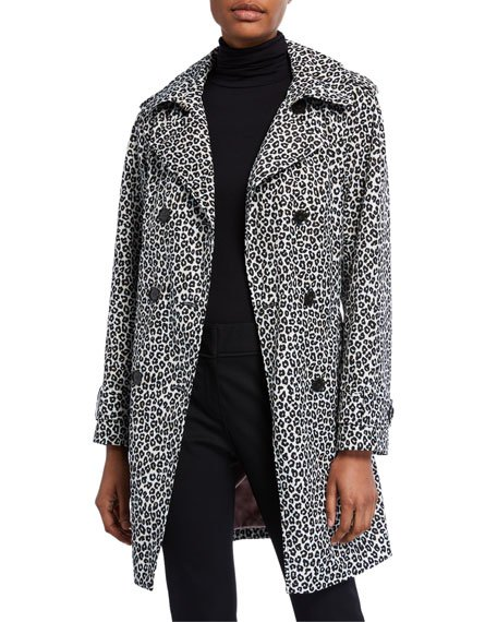 leopard print double-breasted belted trench coat
