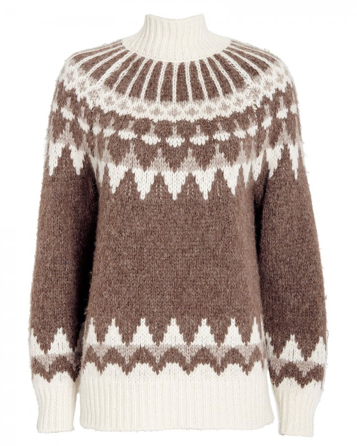 Fair Isle Jacquard Turtleneck Sweater