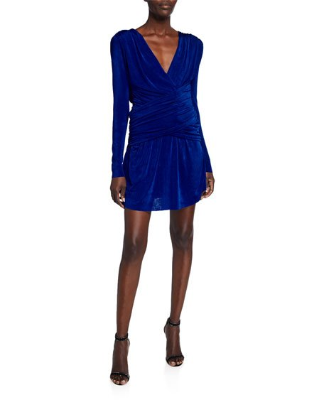 Kahlia V-Neck Long-Sleeve Shirred Mini Dress