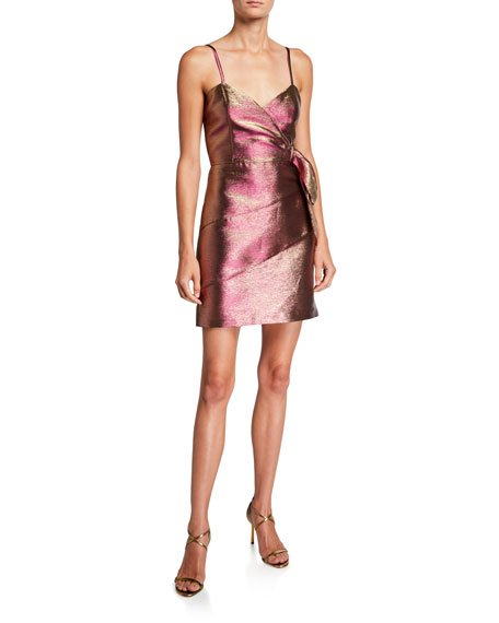 Rita Metallic Spaghetti-Strap Mini Dress with Side Bow