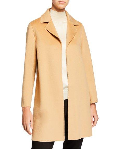 Double Face A-Line Cashmere Coat w/ Notch Collar