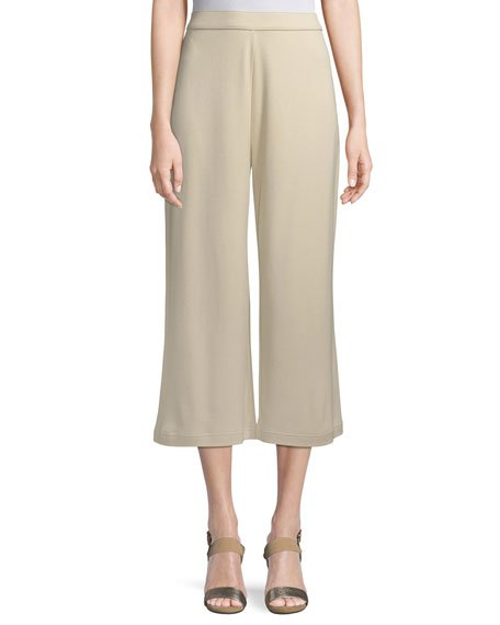 Petite Cropped Cotton Interlock Pants
