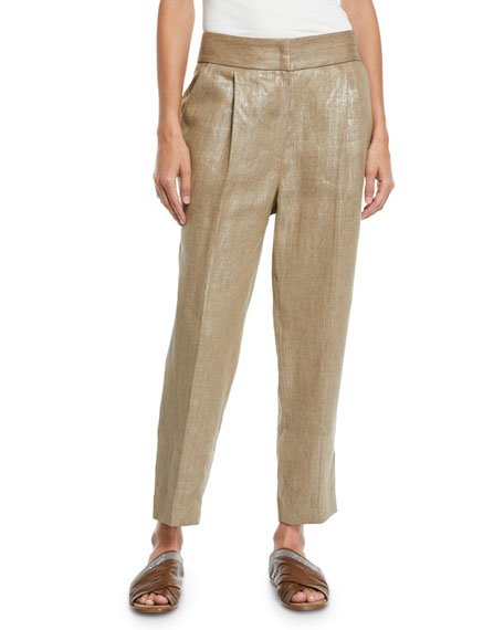 Pleated Metallic-Linen Straight-Leg Crop Pants