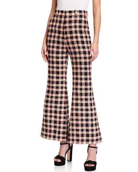Fancy Tweed Damier 70s Flare Pants