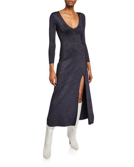 Serafina Strong-Shoulder Split Metallic Dress
