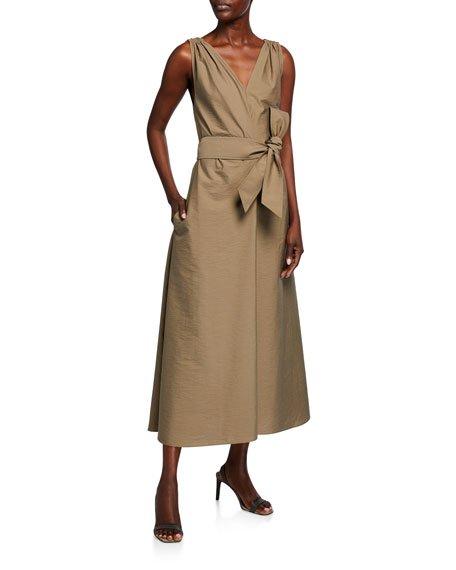 Crinkle-Cotton Double-V-Neck Dress