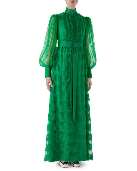 Full-Sleeve Lightweight Organza Dress