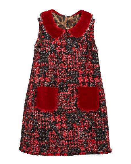 Girl\'s Sleeveless Tweed Dress w/ Velvet Details, Size 8-12