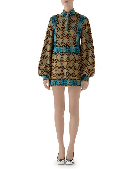 Full-Sleeve High-Neck Wool Dress with Enameled Buttons