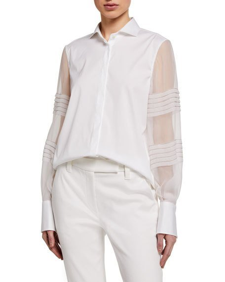 Monili-Beaded Organza Sleeve Poplin Shirt, White