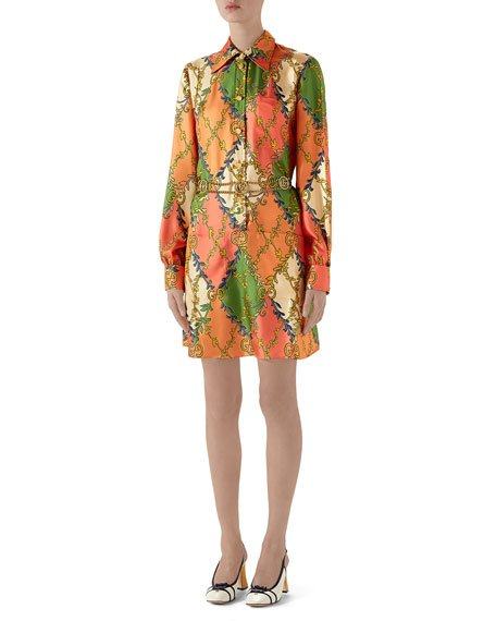 GG Rhombus Belted Shirtdress