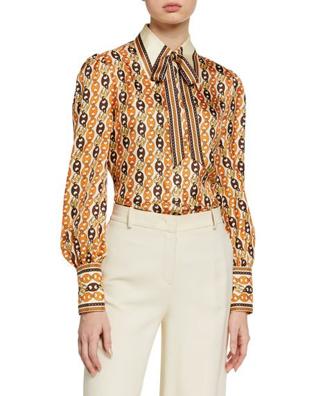 Marina Chain-Print Shirt with Neck Bow