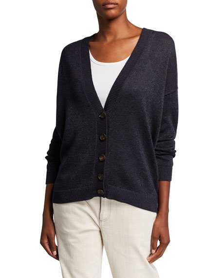Gold-Flecked Cotton-Knit Button-Front Cardigan